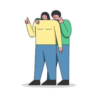 Persone sorridenti fumetto lineare illustrazione piatta