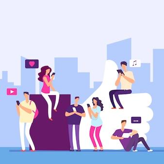 Persone e social media, internet marketing, concetto di mi piace