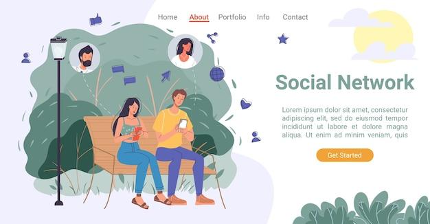 Pagina di destinazione della comunicazione della rete sociale dei social media. uomo donna in rete in chat, commentando, dando mi piace, condividendo foto, cercando amici in tutto il mondo tramite l'app del telefono. paesaggio del parco cittadino