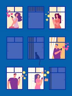 La gente nelle reti sociali nell'illustrazione delle finestre di sera