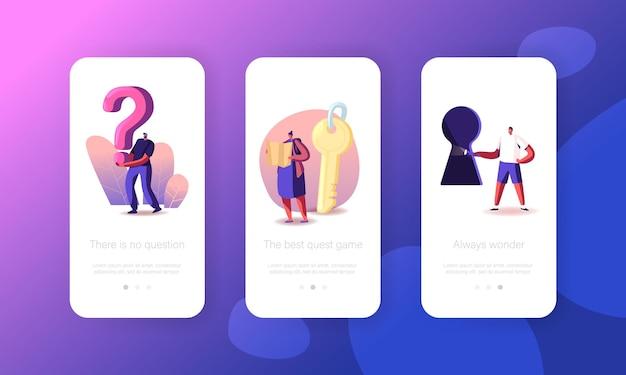 Persone che risolvono il modello di schermata della pagina dell'app per dispositivi mobili di escape room.