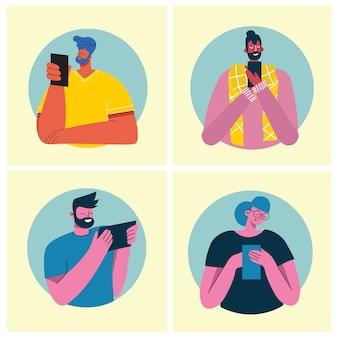 Persone che parlano al telefono, facendo selfie, stile piatto.