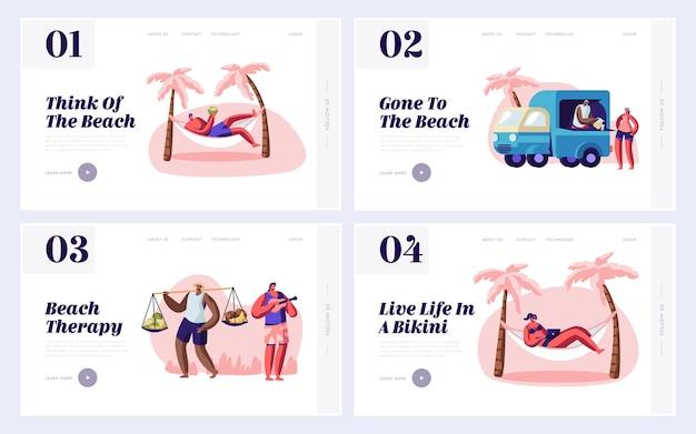 Le persone trascorrono del tempo sul set di modelli di pagina di destinazione del sito web di city beach