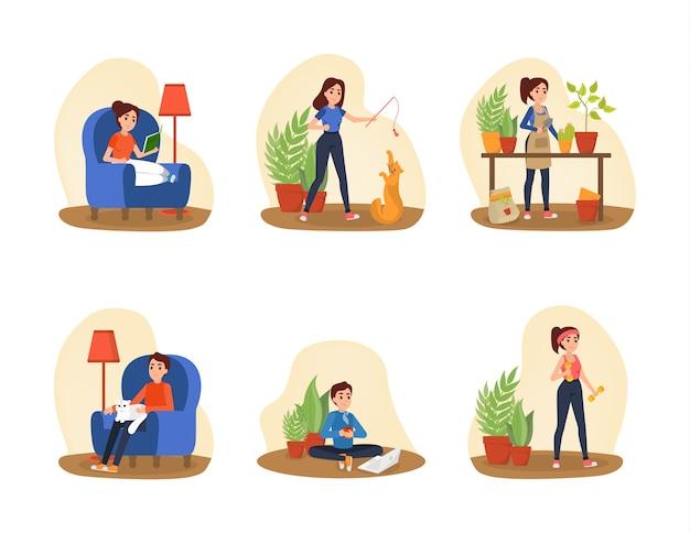 Le persone trascorrono del tempo a casa. raccolta di donna e uomo che fanno attività di casa. esercizio e lettura del libro. illustrazione vettoriale piatto isolato