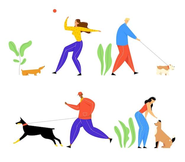 Persone che trascorrono del tempo con animali domestici all'aperto insieme
