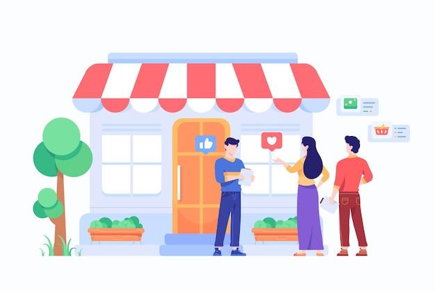 Le persone stanno e negoziano davanti al concetto di negozio del mercato online