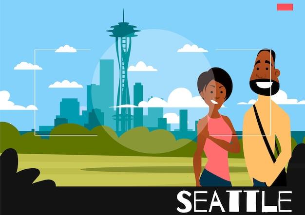 Le persone in piedi vengono fotografate sullo sfondo di seattle. illustrazione nello stile della fotografia. coppia afro-americana sullo sfondo della città di seattle.