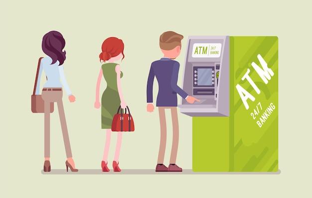 Persone in piedi in linea atm Vettore Premium