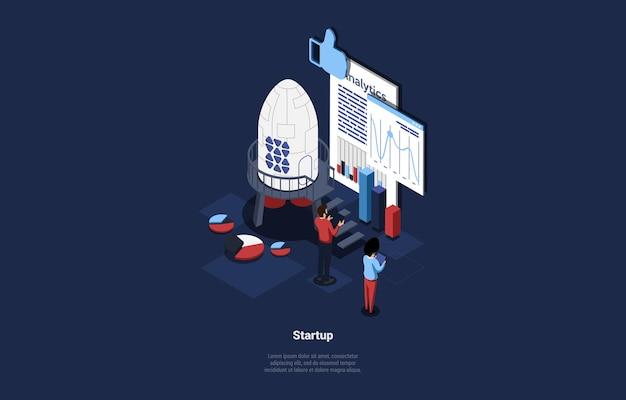 Persone in piedi vicino a grafici e grafici illustrazione isometrica su blu scuro.