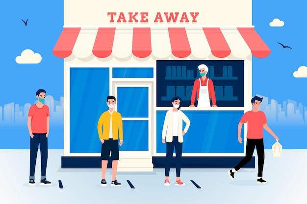 Persone in piedi in una fila di negozi Vettore Premium
