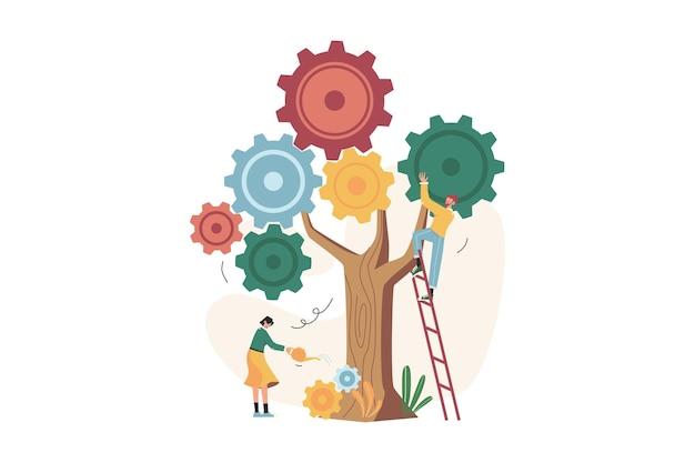 Le persone avviano il meccanismo come un impianto alla ricerca di nuove soluzioni
