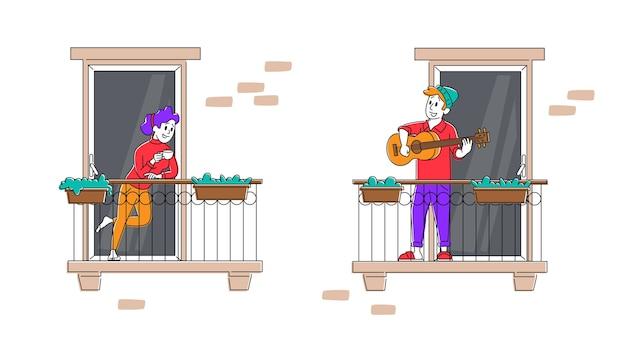 Le persone rimangono a casa blocco globale sul balcone a suonare la chitarra