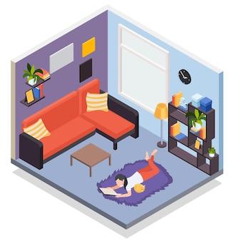 Persone che rimangono a casa composizione isometrica con ragazza che legge sull'illustrazione del tappeto del pavimento