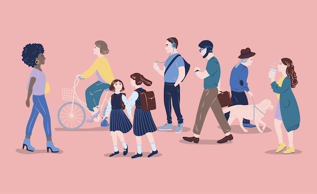 Gente per strada. uomini e donne di diverse età che passano, camminano, stanno in piedi, vanno in bicicletta, ascoltano musica. abitanti delle città moderne, stile di vita urbano. illustrazione vettoriale disegnato a mano.