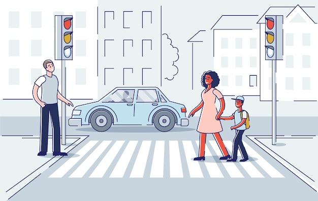 Persone per strada. attraversamento pedonale su strisce pedonali con lampioni.
