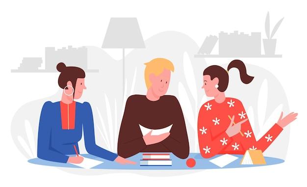 Persone studenti studiano con gli amici a casa illustrazione vettoriale. giovane del fumetto che si siede al tavolo con libri o libri di testo