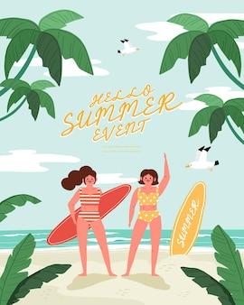 Persone sulla spiaggia d'estate