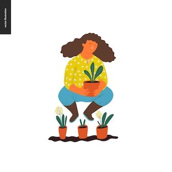 Giardinaggio di estate di persone - illustrazione di concetto di vettore piatto di una giovane donna dai capelli castani