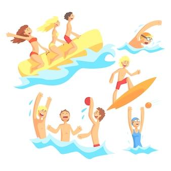 Persone in vacanza estiva al mare, giocare e divertirsi con gli sport acquatici