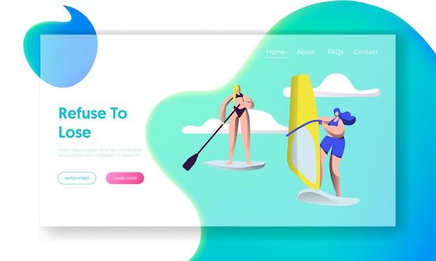 Persone summertime sport acquatico attività. tavola da sup, vela. modello di pagina di destinazione del sito web
