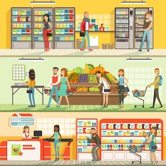 Persone in set di bandiere colorate orizzontali del supermercato, clienti che acquistano e acquistano prodotti illustrazioni dettagliate