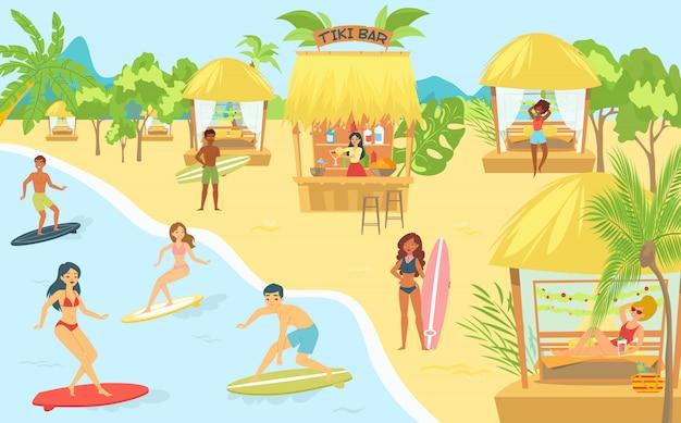 La gente che pratica il surfing nel mare alla spiaggia o alla spiaggia che si rilassa e che esegue le attività all'aperto di svago, nuotando nell'illustrazione piana dell'oceano.