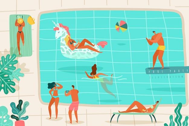 Piscina per persone. le persone che si rilassano lo stagno di estate nuotano il tuffo che prende il sole le sedie a sdraio che prendono l'illustrazione piana variopinta della località di soggiorno