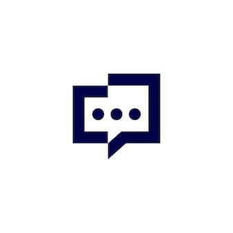 La gente parla illustrazione dell'icona di vettore del logo della conferenza di comunicazione della bolla di chiacchierata