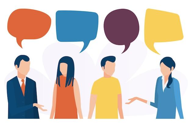 Le persone parlano discutono e conducono un dialogo