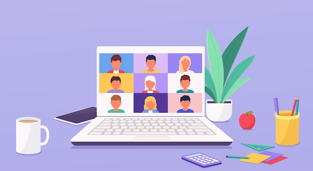 Le persone parlano o imparano online in teleconferenza sul laptop che lavorano da qualsiasi parte del mondo da casa. videochiamata in conferenza.