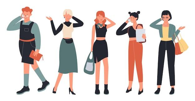 La gente parla al telefono imposta caratteri uomo donna alla moda in abiti casual alla moda parlando