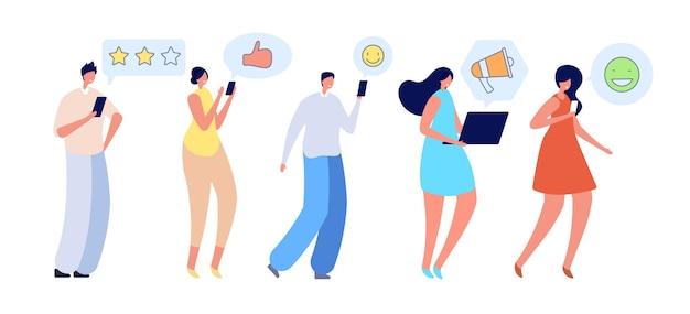Persone che parlano. conversazione online di amici, comunicazione mobile. la donna piatta dell'uomo chiede la chat, l'illustrazione di vettore della comunità della rete di social media. conversazione di comunicazione online