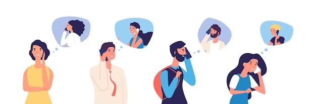Persone che parlano al telefono. uomini, donne, adolescenti che chiamano per telefono. comunicazione e conversazione piatte con caratteri vettoriali di smartphone. illustrazione di conversazione e comunicazione telefonica