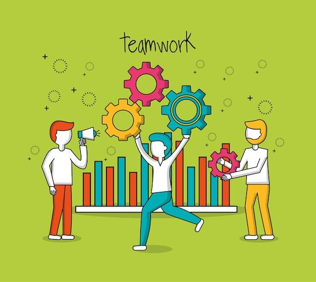 Progresso di statistiche di lavoro di squadra della gente
