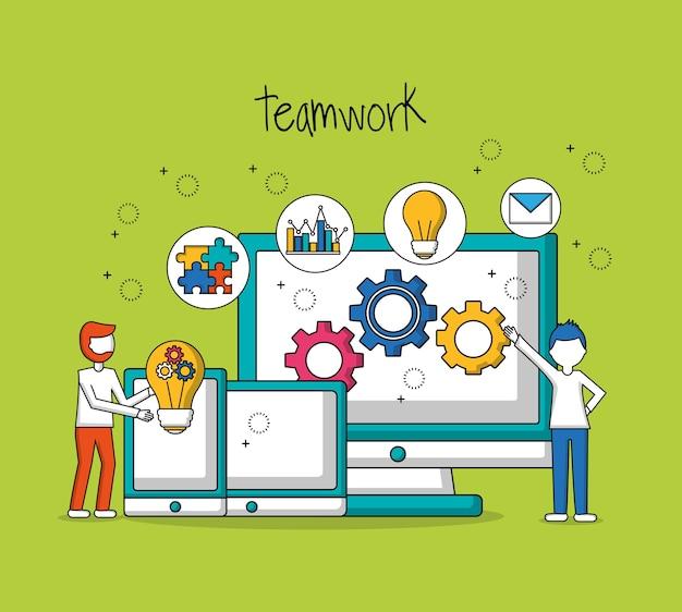 Lavoro di squadra di persone