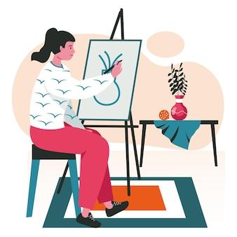 Le persone fanno il loro concetto di scena hobby preferito. donna che dipinge natura morta su tela. artista che attinge cavalletto in studio d'arte, attività di persone creatività. illustrazione vettoriale di personaggi in design piatto