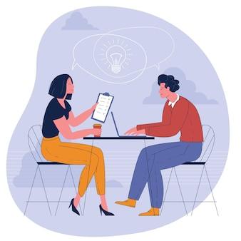 Persone che pensano allo stesso concetto di idea. giovane uomo e donna che lavorano in ufficio