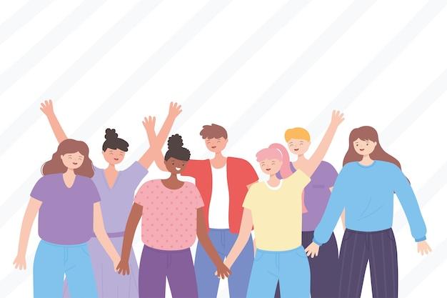 Persone insieme, ragazzi e ragazze in piedi con le mani in alto, personaggi dei cartoni animati maschili e femminili