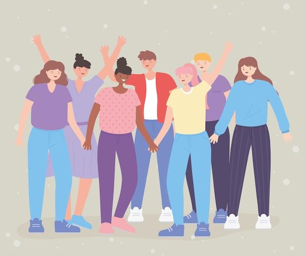 Persone insieme, gruppo di amicizia persone diversità, personaggi dei cartoni animati maschili e femminili
