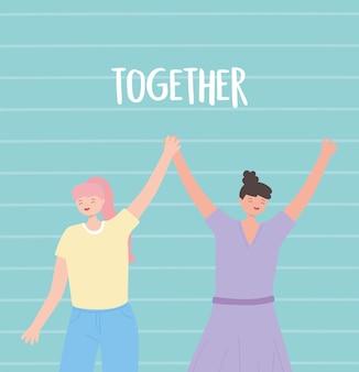 Persone insieme, giovani donne divertenti che si tengono per mano, personaggi dei cartoni animati maschili e femminili