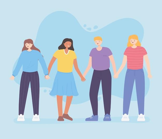 Persone insieme, uomini felici e donne che si tengono per mano, personaggi dei cartoni animati maschili e femminili