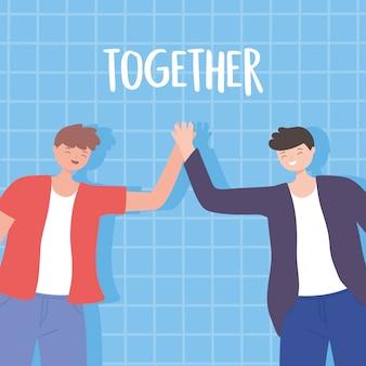 Persone insieme, giovani felici che si tengono per mano, personaggi maschili dei cartoni animati