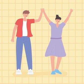 Persone insieme, uomo e donna alzano i personaggi dei cartoni animati uniti, maschili e femminili