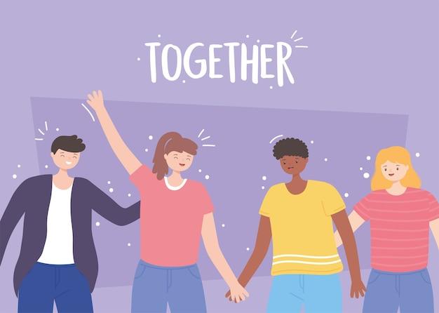 Persone insieme, uomini e donne sorridenti che si tengono per mano, personaggi dei cartoni animati maschili e femminili