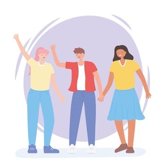Persone insieme, agitando le mani donne e uomini, personaggi dei cartoni animati maschili e femminili