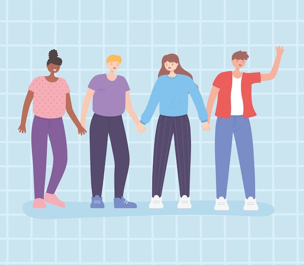 Persone insieme, donne e uomini che si tengono per mano in piedi, personaggi dei cartoni animati maschili e femminili