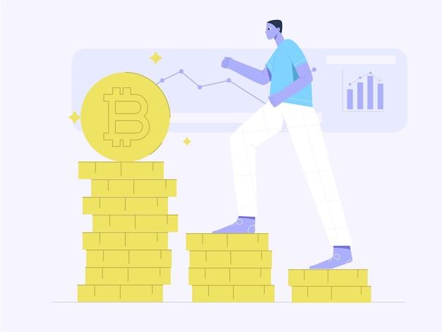 Le persone in cima all'illustrazione piatta dei profitti degli investimenti bitcoin