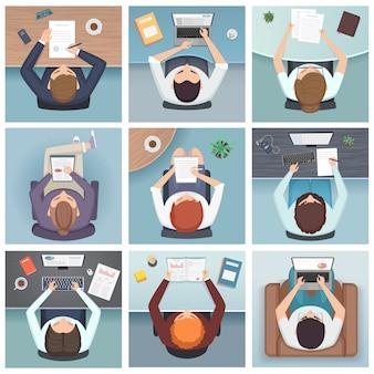 Vista dall'alto della gente. vista superiore della gente dello spazio di lavoro dello scrittorio dei caratteri di affari di riunione