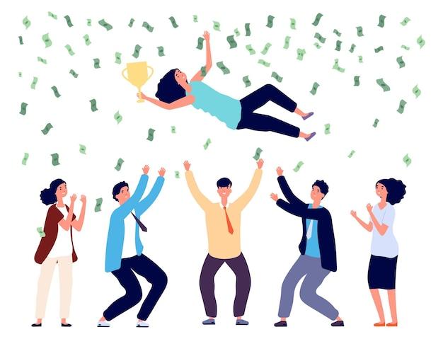 Persone che lanciano una donna in aria. team aziendale che celebra la vittoria, il progetto finale di successo o gli investimenti. pioggia di soldi, illustrazione di vettore dei vincitori della donna dell'uomo felice. vomitare donna, festa e premio
