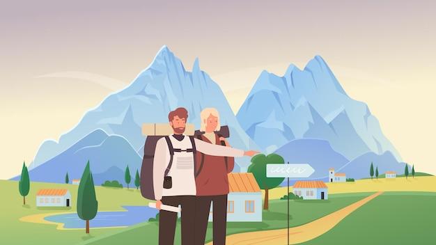 Persone turisti escursionismo illustrazione